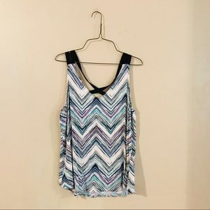 Maurice's Teal Purple and White Chevron Tank Top